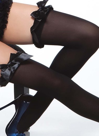 Merry See  Şık Jartiyer Çorabı Siyah
